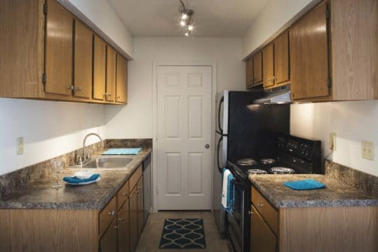 Kitchen in the 2 bedroom floorplans at Brandywine Apartments